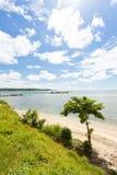 加勒,斯里兰卡-在海滩的一棵唯一树加勒 免版税库存图片