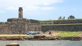 加勒,斯里兰卡- 2014年3月:跟踪美丽的加勒堡垒射击  加勒是南方省的行政首都, Sr 影视素材