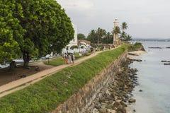 加勒,斯里兰卡- 2016年12月09日:在灯塔,堡垒附近的区域 库存照片