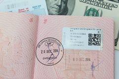 添加在inernational护照的签证 免版税库存图片