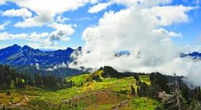 更加多雨的山行迹 库存照片