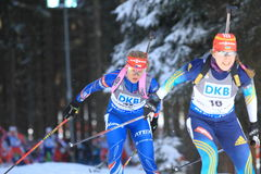 加夫列拉Soukalova -两项竞赛 免版税库存照片