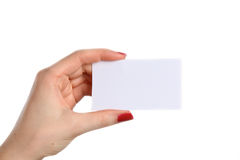 添加女性现有量暂挂拥有您的文本的空白名片 免版税库存图片