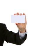 添加女性现有量暂挂拥有您的文本的空白名片 库存照片