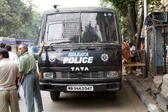 加尔各答警察公车运送,加尔各答,印度 库存图片