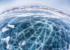 贝加尔湖冰在冬天 库存图片