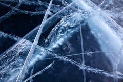 贝加尔湖冰纹理 免版税图库摄影