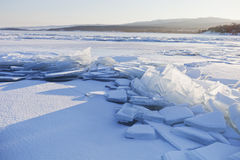 贝加尔湖冰 33c 1月横向俄国温度ural冬天 库存照片