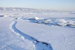贝加尔湖冰 33c 1月横向俄国温度ural冬天 免版税库存图片