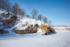 贝加尔湖在冬天 库存图片