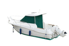 贝加尔湖小船湖马达全景 免版税库存照片