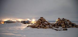 贝加尔湖湖 冰的Yurts渔夫 免版税库存照片