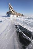 贝加尔湖湖 Ogoi海岛 33c 1月横向俄国温度ural冬天 免版税库存图片