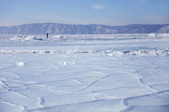 贝加尔湖,在冰的镇压 33c 1月横向俄国温度ural冬天 免版税图库摄影