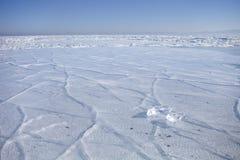贝加尔湖,在冰的镇压 33c 1月横向俄国温度ural冬天 库存图片