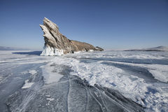 贝加尔湖, Ogoi海岛 33c 1月横向俄国温度ural冬天 免版税库存图片