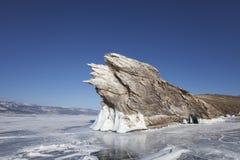 贝加尔湖, Ogoi海岛 33c 1月横向俄国温度ural冬天 免版税库存照片