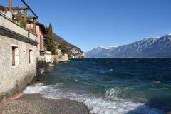 加尔达湖在一风暴日-布雷西亚-意大利一幅全景  库存图片
