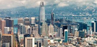 加州弗朗西斯科・圣 农贸市场,街市Buildi鸟瞰图  库存图片
