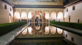 加州桂在夜,阿尔罕布拉宫的庭院 免版税库存照片