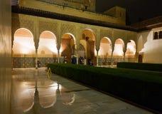 加州桂Patio de los Arrayanes,阿尔罕布拉宫的庭院 免版税库存图片