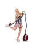 更加干净的真空妇女年轻人 免版税库存照片