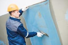 加强门面的玻璃纤维涂灰泥用于膏药工作的滤网 免版税库存图片