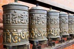 加德满都尼泊尔祷告swayambunath轮子 免版税库存图片