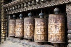 加德满都尼泊尔祷告swayambunath轮子 免版税库存照片