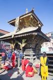 加德满都尼泊尔课程祷告swayambunath 免版税库存图片