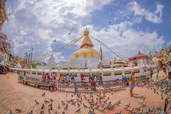 加德满都,尼泊尔2017年10月15日:走和喂养在巨大的响铃前面的未认出的人民鸽子在a下 图库摄影