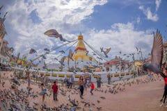 加德满都,尼泊尔2017年10月15日:走和喂养在巨大的响铃前面的未认出的人民鸽子在a下 免版税库存照片