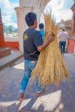 加德满都,尼泊尔2017年10月15日:运载在他的手麦子秸杆的未认出的人对宗教灼烧的仪式在 库存图片