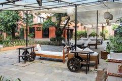 加德满都,尼泊尔- 2016年11月02日:Dwarika的旅馆在加德满都,尼泊尔的古老文化遗产的地道经验 图库摄影