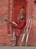 加德满都,尼泊尔- 2017年12月01日:Shaiva sadhu 免版税库存图片