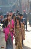 从加德满都尼泊尔的美丽的女孩 免版税库存图片