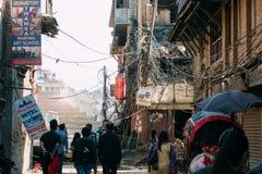 加德满都,尼泊尔- 02 2015年5月 在地震以后的破坏 免版税库存照片