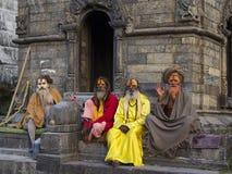加德满都,尼泊尔- 11月03 :有传统的圣洁Sadhu人 免版税库存照片