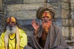 加德满都,尼泊尔- 11月03 :有传统的圣洁Sadhu人 免版税库存图片