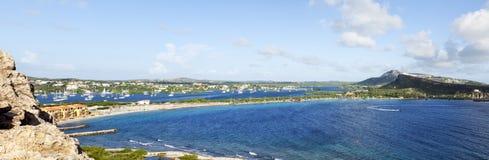 加拉加斯海湾和西班牙人水全景 免版税图库摄影