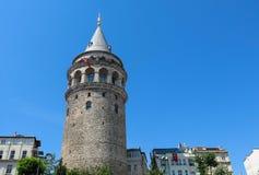 加拉塔塔在伊斯坦布尔,土耳其 加拉塔桥梁, Karakoy dis 图库摄影