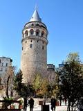 加拉塔塔是中世纪石塔在伊斯坦布尔, T 库存图片