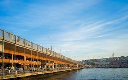 加拉塔桥梁和Beyoglu在蓝天下 免版税库存图片