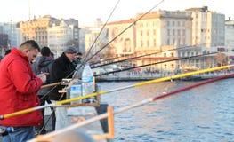 加拉塔桥梁的,伊斯坦布尔Fisher 免版税库存照片