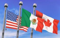 加拿大、墨西哥和美国旗子 库存照片