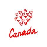 加拿大与被隔绝的元素的字法商标 拉长的现有量 免版税图库摄影