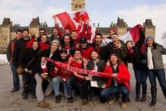 加拿大人庆祝曲棍球金子 库存图片