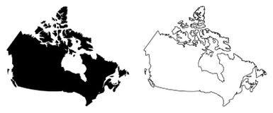 加拿大传染媒介图画仅简单的锋利的角落地图  梅卡 向量例证
