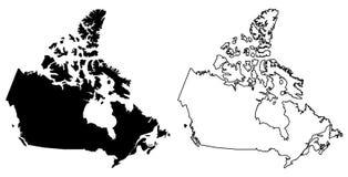 加拿大传染媒介图画仅简单的锋利的角落地图  lamber 皇族释放例证