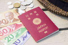 加拿大元和日本护照 免版税库存图片